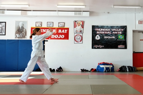 my wife doing her kata, heavily cropped